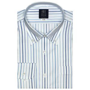 標準体 長袖 ワイシャツ 形態安定 ボタンダウン 白×ブルーストライプ|shirt