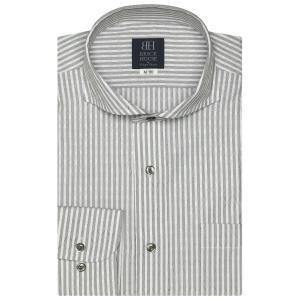 ワイシャツ 長袖 形態安定 ホリゾンタル ワイド 白×グレーストライプ、ダイヤチェック織柄 標準体|shirt