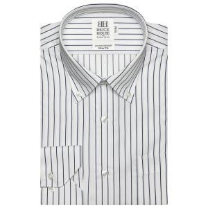 スリム 長袖 ワイシャツ 形態安定 ドゥエボットーニ ボタンダウン 綿100% 白×ブルーストライプ、ダイヤチェック織柄|shirt