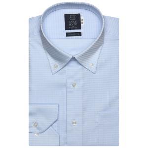 標準体 長袖 ワイシャツ 形態安定 ドゥエボットーニ ボタンダウン 綿100% サックス×幾何学模様織柄|shirt