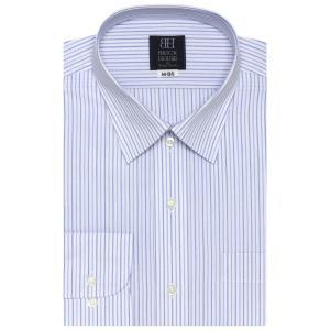 標準体 長袖 ワイシャツ 形態安定 レギュラー 白×ブルーストライプ|shirt