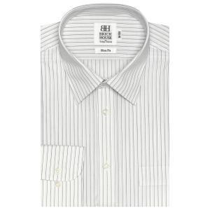 スリム 長袖 ワイシャツ 形態安定 レギュラー 白×黒、グレーストライプ|shirt