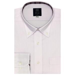 標準体 長袖 ワイシャツ 形態安定 ボタンダウン 白×ピンクストライプ|shirt