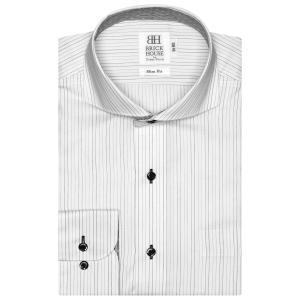 ワイシャツ 長袖 形態安定 ホリゾンタル ワイド 白×黒ストライプ スリム|shirt