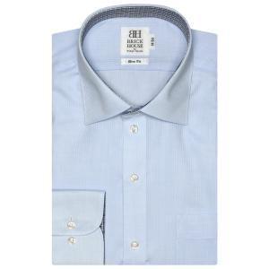 スリム 長袖 ワイシャツ 形態安定 ワイド サックス×ストライプ織柄|shirt