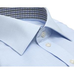 スリム 長袖 ワイシャツ 形態安定 ワイド サックス×ストライプ織柄|shirt|02