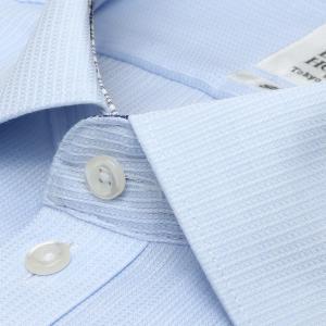スリム 長袖 ワイシャツ 形態安定 ワイド サックス×ストライプ織柄|shirt|03