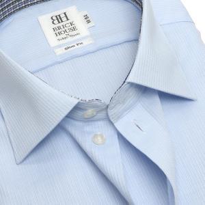 スリム 長袖 ワイシャツ 形態安定 ワイド サックス×ストライプ織柄|shirt|04