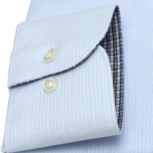 スリム 長袖 ワイシャツ 形態安定 ワイド サックス×ストライプ織柄|shirt|05