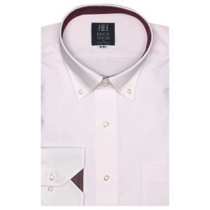 標準体 長袖 ワイシャツ 形態安定 ドゥエボットーニ ボタンダウン 白×ピンクストライプ、ダイヤチェック織柄|shirt