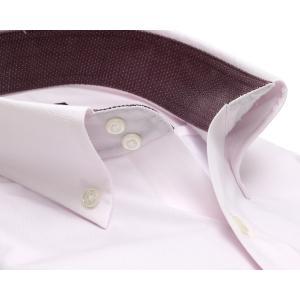 標準体 長袖 ワイシャツ 形態安定 ドゥエボットーニ ボタンダウン 白×ピンクストライプ、ダイヤチェック織柄|shirt|02