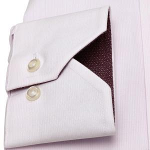 標準体 長袖 ワイシャツ 形態安定 ドゥエボットーニ ボタンダウン 白×ピンクストライプ、ダイヤチェック織柄|shirt|05