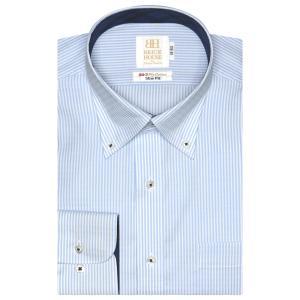 スリム 長袖 ワイシャツ 形態安定 ボタンダウン 綿100% 白×サックスストライプ|shirt