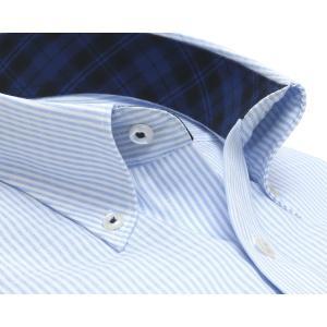 スリム 長袖 ワイシャツ 形態安定 ボタンダウン 綿100% 白×サックスストライプ|shirt|02
