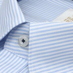 スリム 長袖 ワイシャツ 形態安定 ボタンダウン 綿100% 白×サックスストライプ|shirt|03