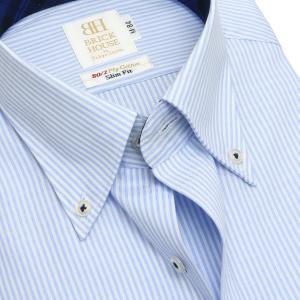 スリム 長袖 ワイシャツ 形態安定 ボタンダウン 綿100% 白×サックスストライプ|shirt|04