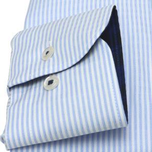スリム 長袖 ワイシャツ 形態安定 ボタンダウン 綿100% 白×サックスストライプ|shirt|05