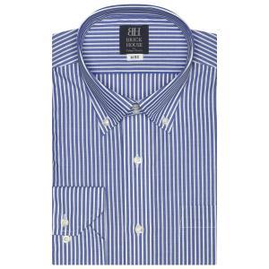 標準体 長袖 ワイシャツ 形態安定 ドゥエボットーニ ボタンダウン 白×ブルーストライプ shirt