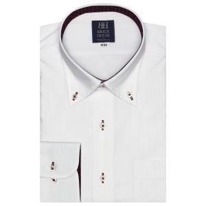 標準体 長袖 ワイシャツ 形態安定 ボタンダウン 白×ピンクストライプ shirt
