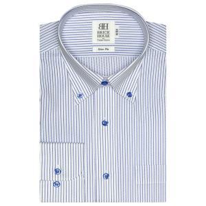 スリム 長袖 ワイシャツ 形態安定 ボタンダウン 白×ブルー...