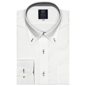 標準体 長袖 ワイシャツ 形態安定 ボタンダウン 白×ストライプ織柄|shirt