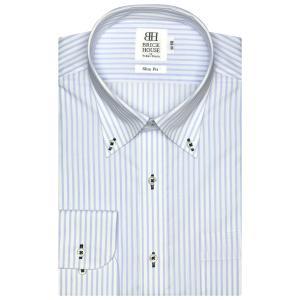 ワイシャツ 長袖 形態安定 ボタンダウン 白×サックスストライプ スリム|shirt