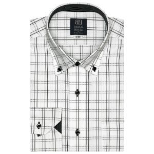 標準体 長袖 ワイシャツ 形態安定 ドゥエボットーニ ボタンダウン 白×黒チェック|shirt