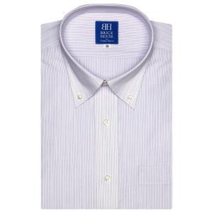 新体型 半袖 ワイシャツ 形態安定 ボタンダウン 白×パープル、ブルーストライプ|shirt