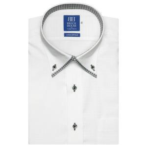 ワイシャツ 半袖 形態安定 マイター ボタンダウン 綿100% 白×小紋織柄 新体型|shirt
