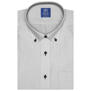 新体型 半袖 ワイシャツ 形態安定 ドゥエボットーニ ボタンダウン 白×ブラック刺子調柄|shirt