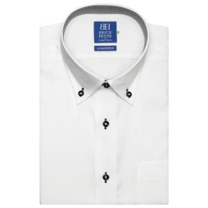 ワイシャツ 半袖 形態安定 ドゥエボットーニ ボタンダウン 綿100% 白×ストライプ織柄 新体型|shirt