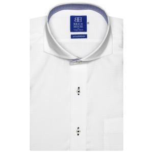新体型 半袖 ワイシャツ 形態安定 ホリゾンタル ワイド 綿100% 白×変則斜めストライプ織柄|shirt