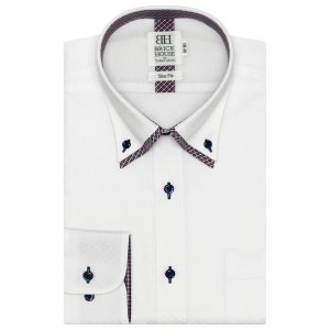 スリム 長袖 メッシュインナー ワイシャツ 形態安定 ボタンダウン ダブルカラー 白×スクエアドット織柄 shirt
