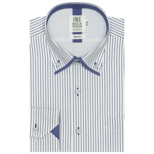 スリム 長袖 フィットインナー ワイシャツ 形態安定 マイター ドゥエボットーニ ボタンダウン 白×ブルーストライプ|shirt
