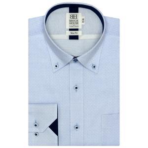 スリム 長袖 メッシュインナー ワイシャツ 形態安定 ドゥエボットーニ ボタンダウン サックス×市松格子織柄 shirt