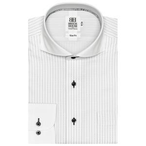 スリム 長袖 フィットインナー ワイシャツ 形態安定 クレリック ホリゾンタル ワイド 白×グレーストライプ shirt
