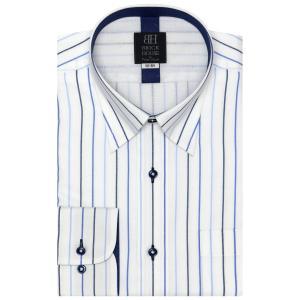 標準体 長袖 メッシュインナー ワイシャツ 形態安定 スナップダウン 白×ブルーストライプ|shirt