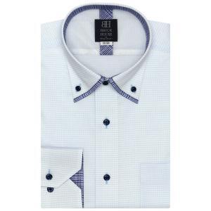標準体 長袖 メッシュインナー ワイシャツ 形態安定 マイター ドゥエボットーニ ボタンダウン サックス×白チェック shirt