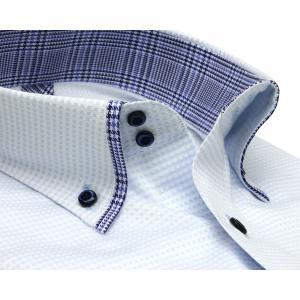 標準体 長袖 メッシュインナー ワイシャツ 形態安定 マイター ドゥエボットーニ ボタンダウン サックス×白チェック shirt 02