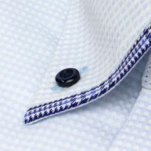 標準体 長袖 メッシュインナー ワイシャツ 形態安定 マイター ドゥエボットーニ ボタンダウン サックス×白チェック shirt 03