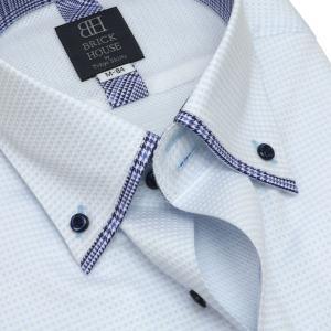 標準体 長袖 メッシュインナー ワイシャツ 形態安定 マイター ドゥエボットーニ ボタンダウン サックス×白チェック shirt 04