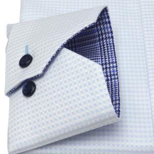 標準体 長袖 メッシュインナー ワイシャツ 形態安定 マイター ドゥエボットーニ ボタンダウン サックス×白チェック shirt 05