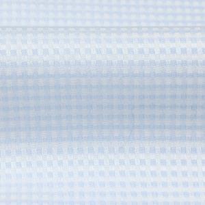 標準体 長袖 メッシュインナー ワイシャツ 形態安定 マイター ドゥエボットーニ ボタンダウン サックス×白チェック shirt 06
