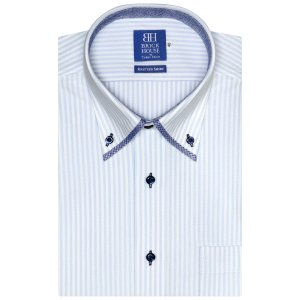 新体型 ビズポロ 半袖 ニットシャツ 形態安定 マイター ボタンダウン 白×サックスストライプ|shirt