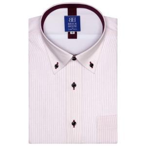 ワイシャツ 半袖 形態安定 フィットインナー ドゥエボットーニ ボタンダウン 白×ピンクストライプ 新体型|shirt