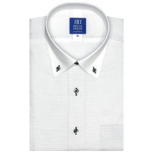 ワイシャツ 半袖 形態安定 メッシュインナー クレリック ドゥエボットーニ ボタンダウン グレー×ボーダーストライプ 新体型|shirt
