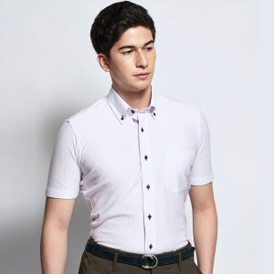 ワイシャツ 半袖 形態安定 ビズポロ ニットシャツ ドゥエボットーニ ボタンダウン 白×パープルストライプ 新体型|shirt