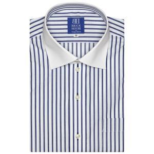 新体型 半袖 ワイシャツ 形態安定 クレリック ワイド 白×ブルーストライプ|shirt