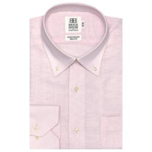 スリム 長袖 Wガーゼ ワイシャツ 形態安定 ドゥエボットーニ ボタンダウン 綿100% ピンク×無地調織柄|shirt