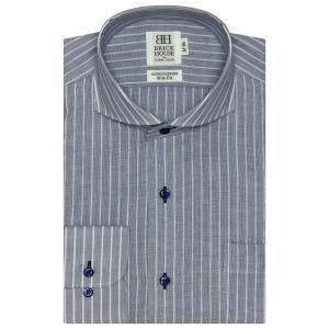 スリム 長袖 Wガーゼ ワイシャツ 形態安定 ホリゾンタル ワイド 綿100% ブルー×白ストライプ|shirt